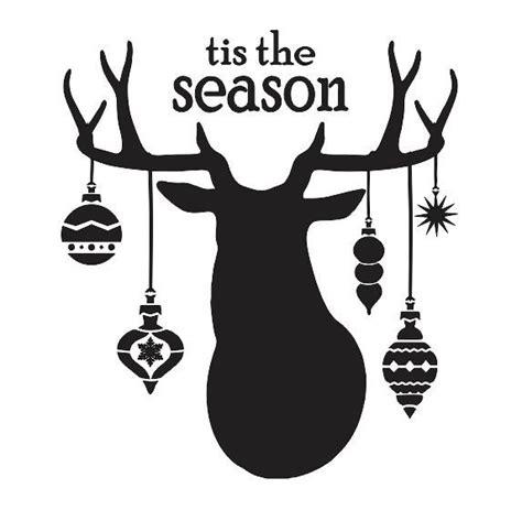 christmas stencil tis the season deer head ornaments 12x12