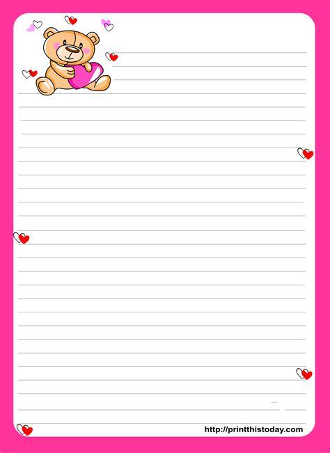 teddy bear writing paper kids printable