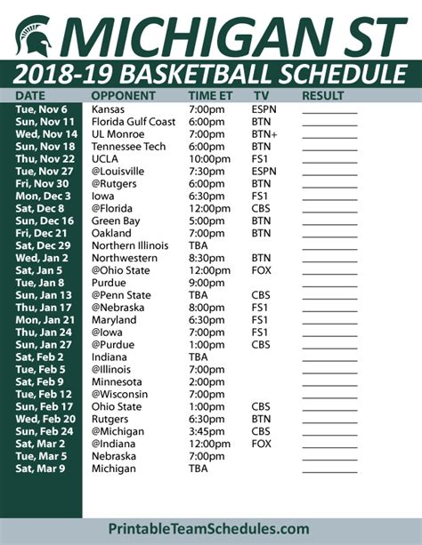 Michigan State Basketball Schedule Printable printable michigan state basketball schedule 2018 19