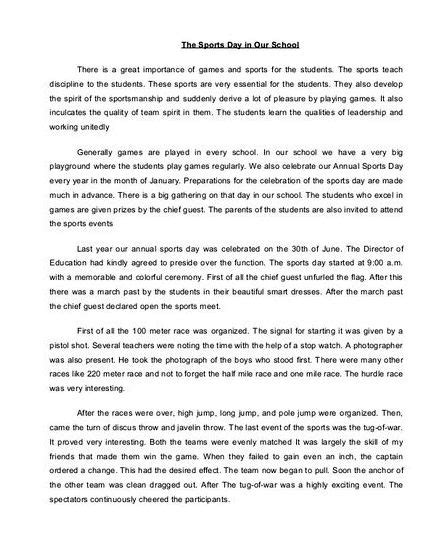 Sportsmanship Essay by Writing An Article About Sports Day