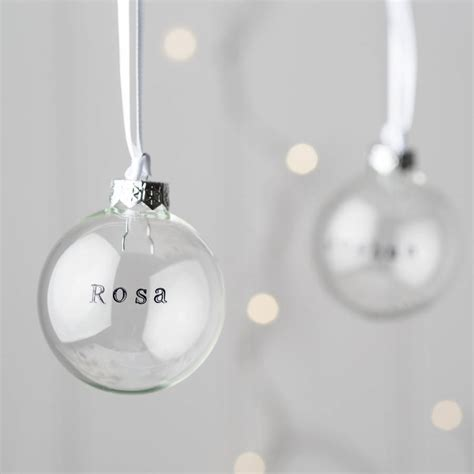 personalised glass christmas bauble by twenty seven