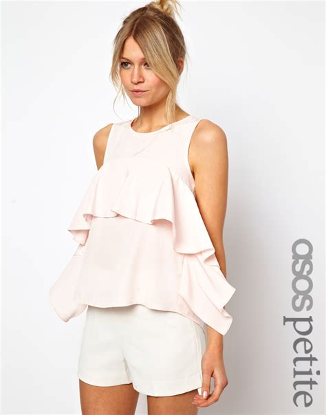 top ruffle asos exclusive ruffle top with split back in pink
