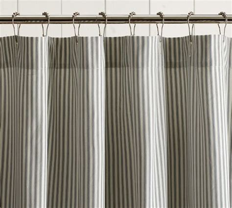 pottery barn ruffle curtains ticking stripe ruffle shower curtain pottery barn