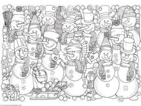Color the snowman and the wintery owls