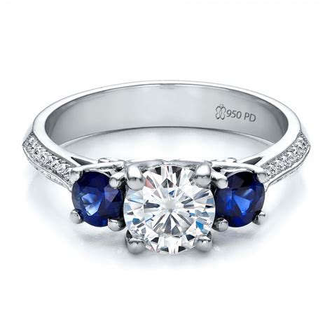 custom blue sapphire and engagement ring 100116