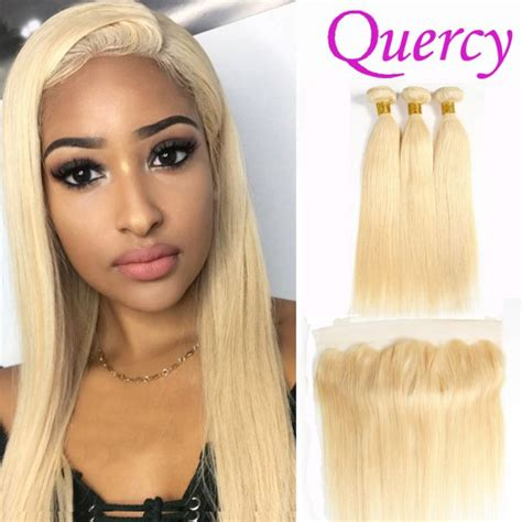 hair color 613 3 bundles with lace frontal 13 4inch blond color 613 hair