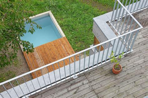 reihenhausgarten und pool haus design ideen