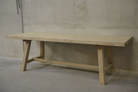 Belgian Bleached Oak Dining Table Or Desk With Angled Legs Second Oak Dining Table