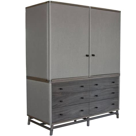 gray armoire lambert armoire in grey walnut with ash canvas and granite