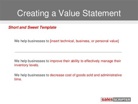 values statement template how to build your value proposition