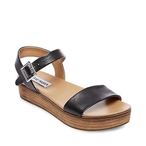 steve madden s aida black leather sandal 8 5 us shoe