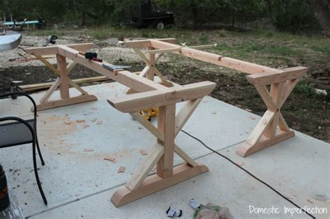 diy table base rustic picnic style dining table domestic imperfection