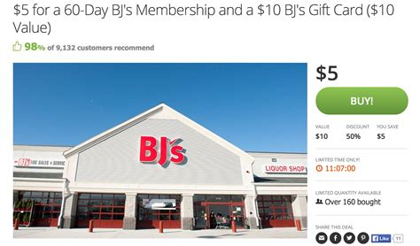 Bj S Gift Card Deals - bj s 1 year membership with 20 gift card and 55 in coupons for 50 125 value