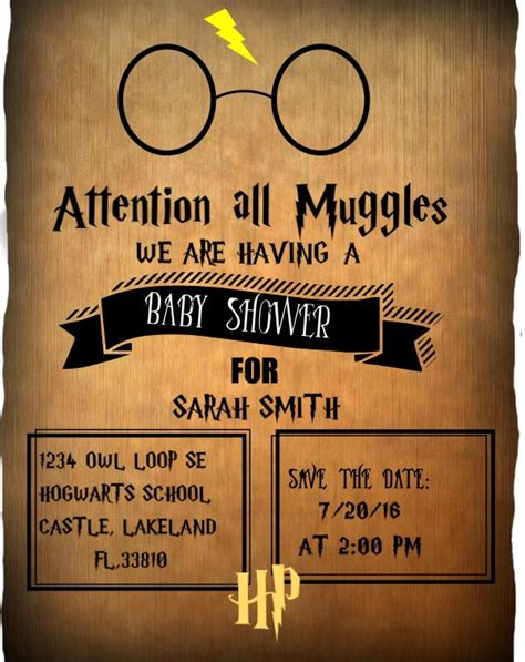 441 Best Images About Invitations On Pinterest Harry Potter Baby Shower Invitation Template Free