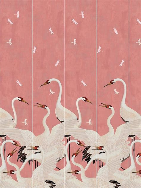 gucci heron print wallpaper panels   birds
