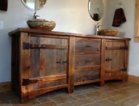 reclaimed wood vanity rustic bath cabinetry log cabin