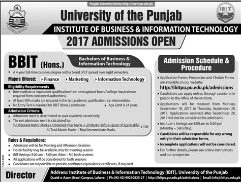 Punjab Mba Admission 2017 by Admission Open In Of The Punjab 20 Sep 2017