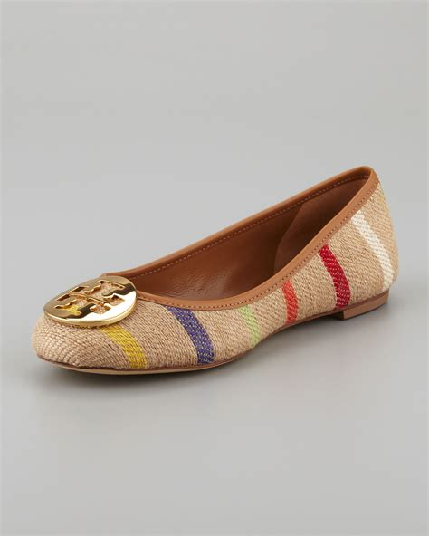 Flatshoes Toryburch Import 4 Burch Reva Striped Linen Ballet Flats In Brown Lyst