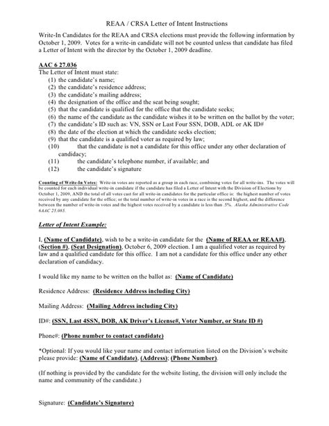 Letter Of Intent Kentucky Election State Of Alaska Write In Candidate S Letter Of Intent State