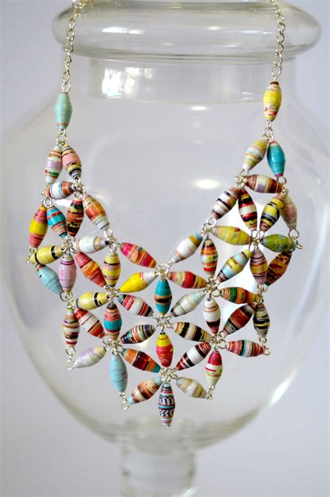 Paper Jewelry - statement paper bead bib necklace gemstones be cool and