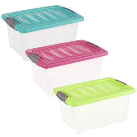 Small Plastic Shelf by Set Of 3 Small Plastic Storage Boxes Click Lid Desktop