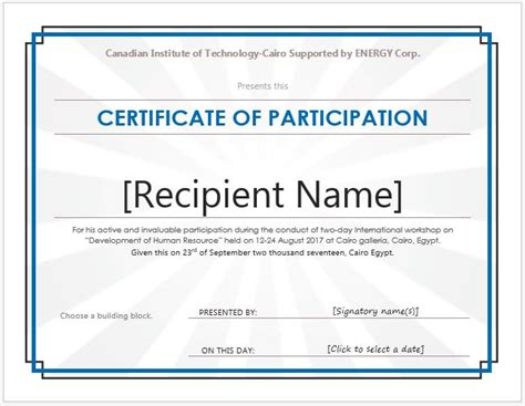 certificate of participation templates for ms word professional certificate templates