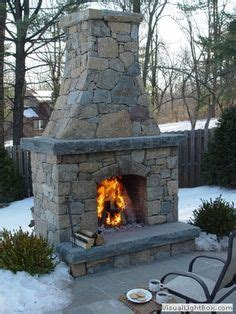 Outdoor Fieldstone Fireplace by Patio With Outdoor Fireplace Around The