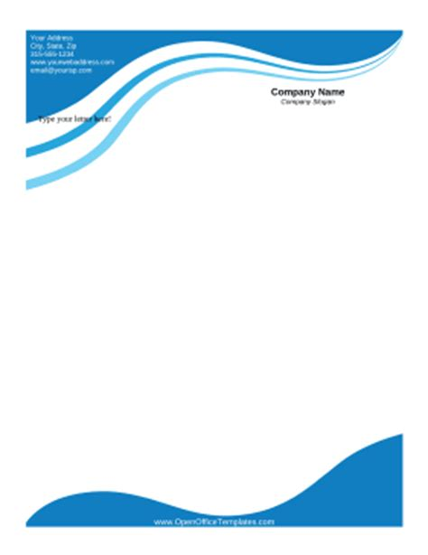 plantilla business letterhead with blue waves blue wave letterhead openoffice template