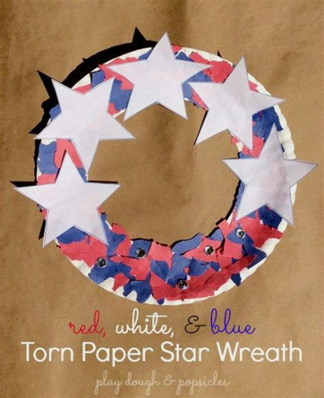 Labor Of The Craft And - ripped paper wreath patriotic crafts craft