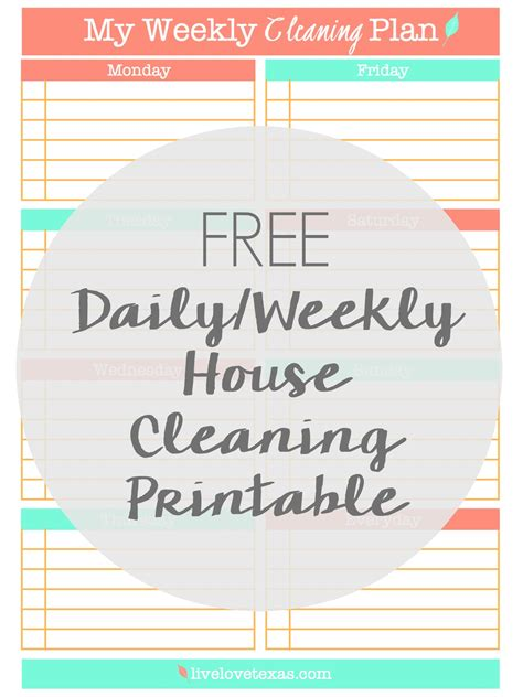 clean my house free daily weekly cleaning schedule printable