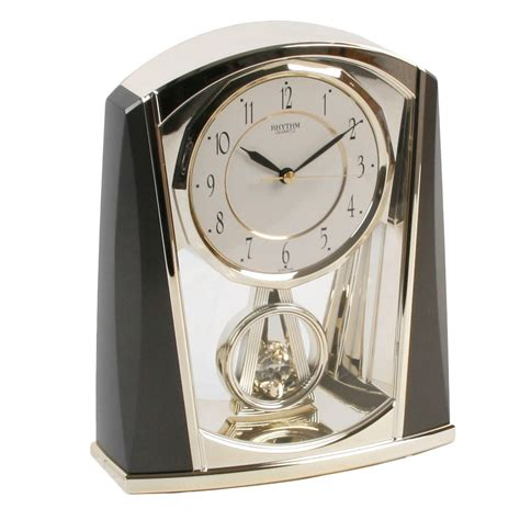 cool grey clock face r0176ffd8e1034ce8a2765cc8aa472c6c rhythm contemporary modern mantel clock black and grey