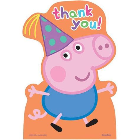 peppa pig thank you card template with add photo peppa pig thank you cards thank you notes