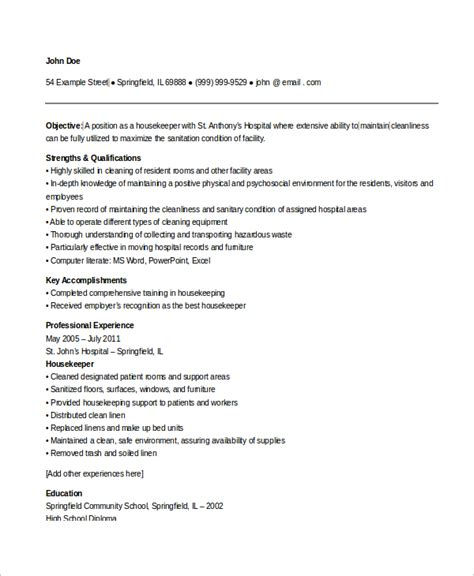 Sle Of Housekeeping Resume by Sle Resume For Housekeeper In Hospital 28 Images Housekeeping Experience Resume 34 Images