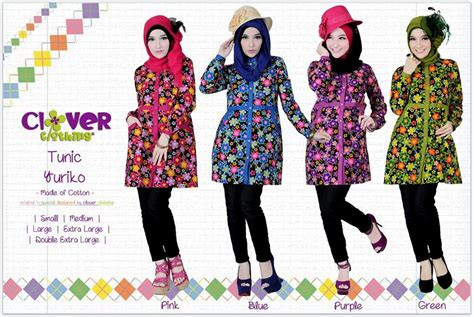 Fariza Tunik Katun 2 Warna koleksi busana muslimah baju muslim tunik yuriko