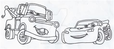 Mater And Lightning Mcqueen Outlines By Heartsongwolf On Mater And Lightning Mcqueen Coloring Pages