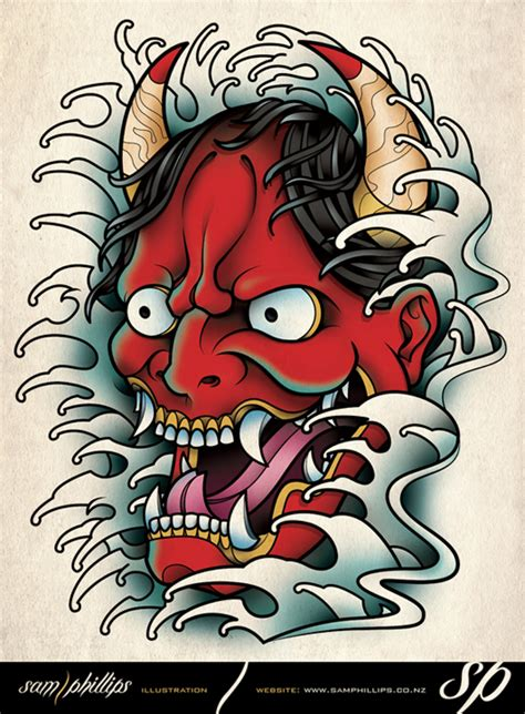 tattoo design japanese book hannya mask tattoo by sam phillips nz on deviantart