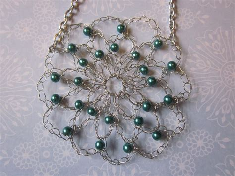how to make a beaded flower necklace crocheted teal beaded wire flower necklace by pamgabriel