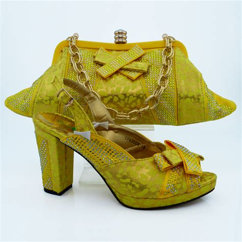 new yellow shoes and bags matching set high quality italian matching shoe and bag set