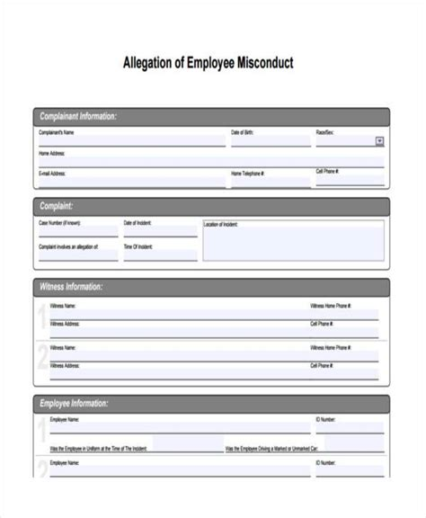 sle employee misconduct forms 8 free documents in word