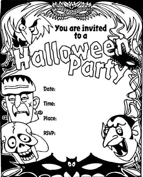 Printable Halloween Invitations To Color | halloween invitation crayola co uk