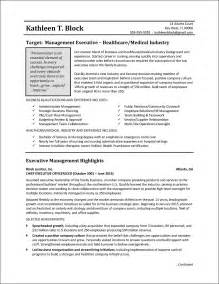 A Resume For A by Management Resume Sle Healthcare Industry