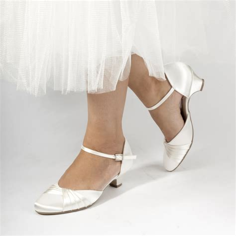 Low Wedding Shoes by Pink Paradox Protea Dyeable Ivory Satin Low Heel Wedding