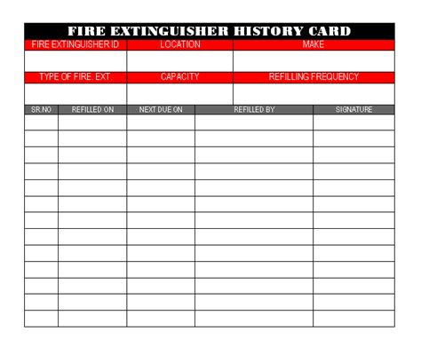 history card template extinguisher history card