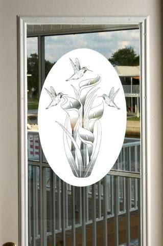 Oval Lily And Hummingbird Horizontal Static Cling Etched Glass Door Decals