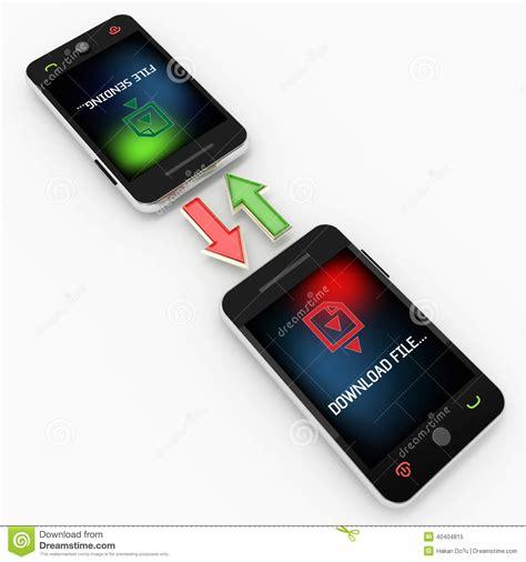 mobile file transfer mobile phone file transfer technology stock illustration