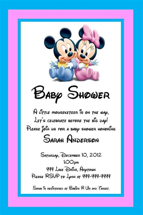 Printable Disney Baby Shower Invitations by Free Printable Baby Shower Invitations Baby Mickey