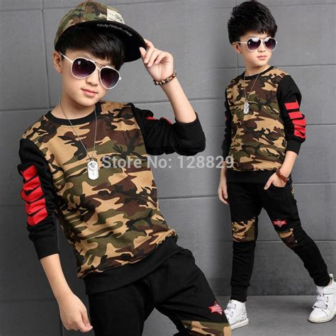 fashion clothes for 8 year old boy children clothing sets for boys camouflage sports suits