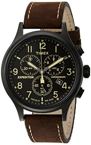 Expedition Time E6396 Black Leather Brown For Original timex s expedition scout chrono black brown leather ebay