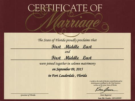 Are Certificates Record In Florida Commemorative Marriage Certificates Florida Department Of Health