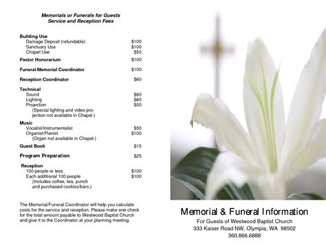 Free Memorial Service Template printable funeral programs funeral program template pdf